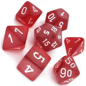 Red & White Frosted Polyhedral 7 Dice Set